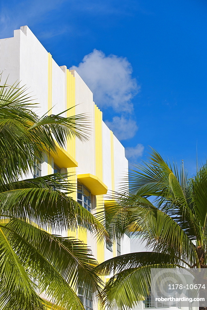 Palm trees and art deco building