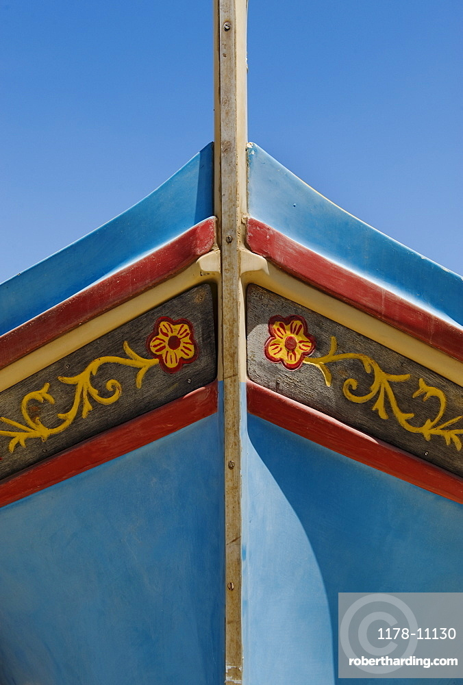 Close up of bow of Luzzu fishing boat