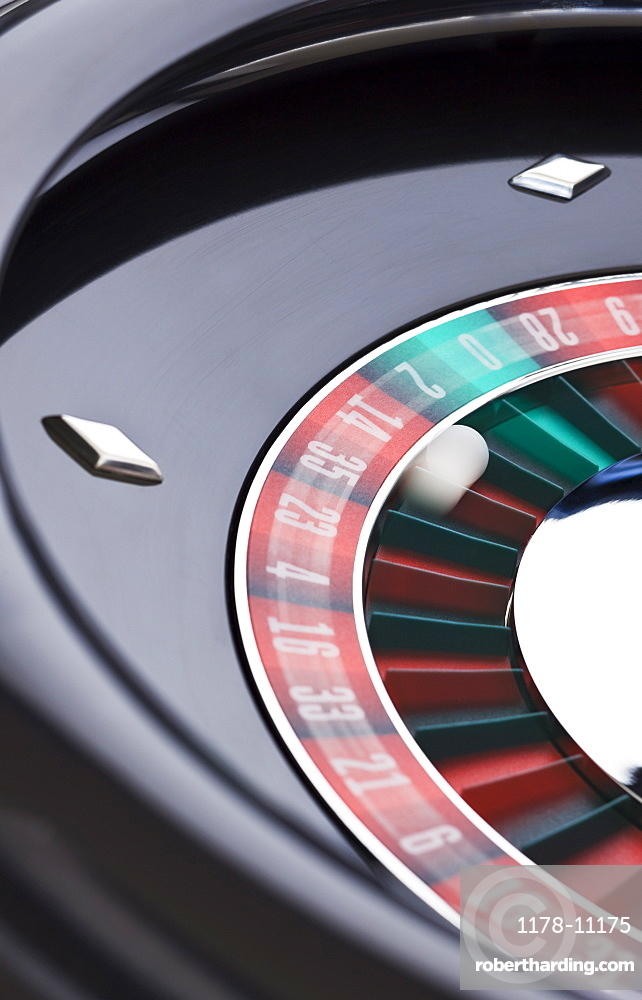 Close up of spinning roulette table