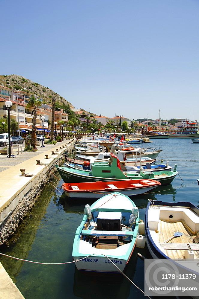 Turkey, Cesme, boats in harbor