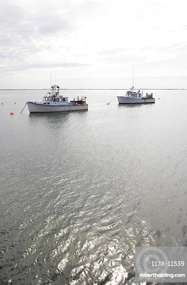 USA, Massachusetts, moored fishing boats