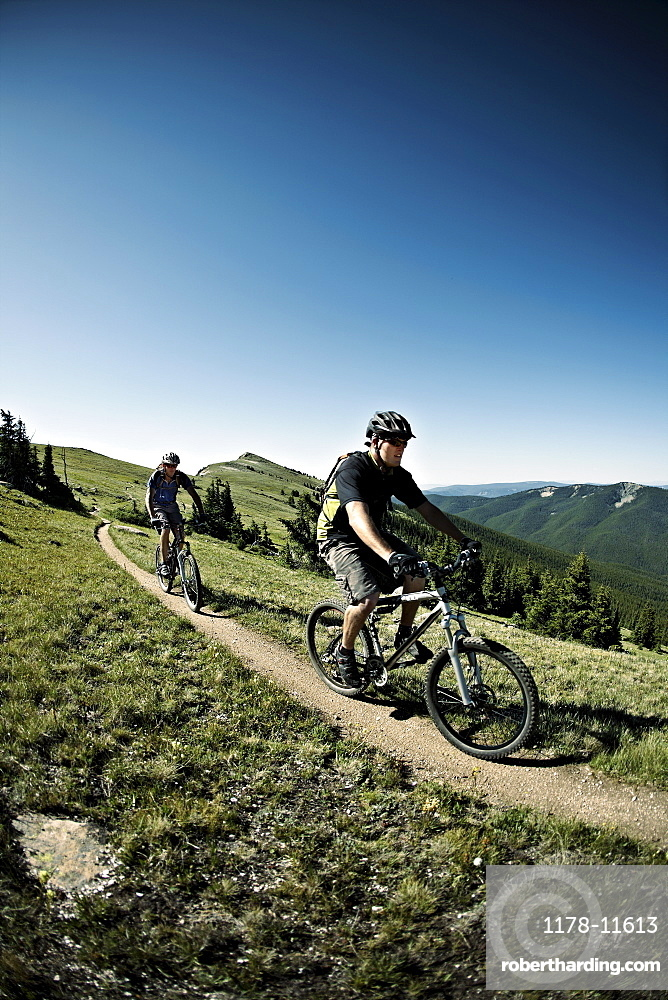 Men mountain biking on mountain track