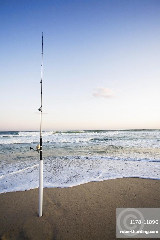 Fishing rod on the beach
