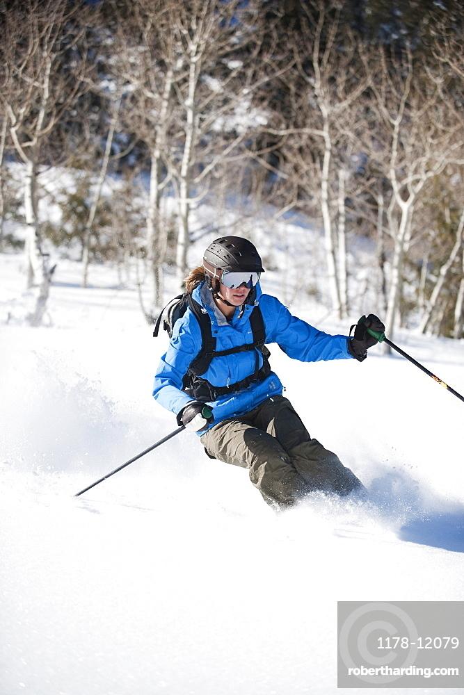 A downhill skier