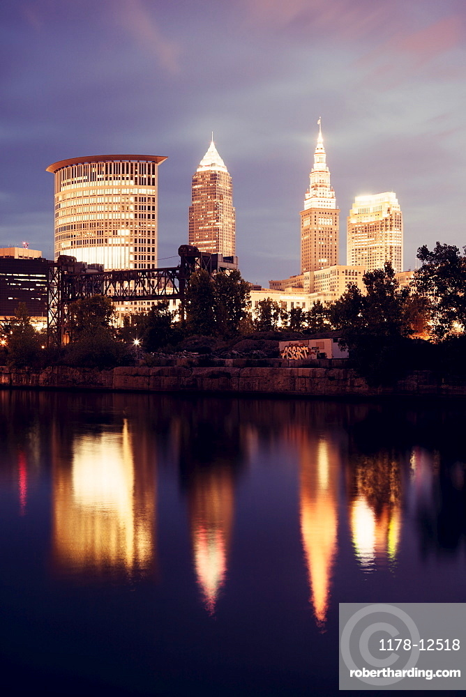Downtown of Cleveland reflected in Cuyahoga River