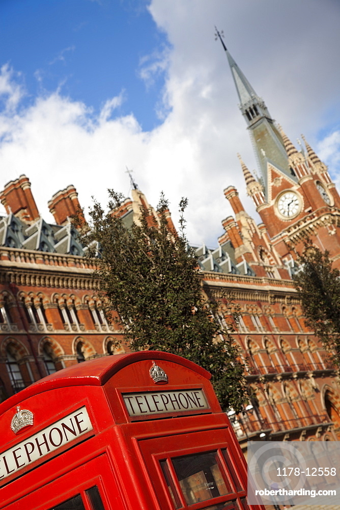 Saint Pancras Station and red telephone box