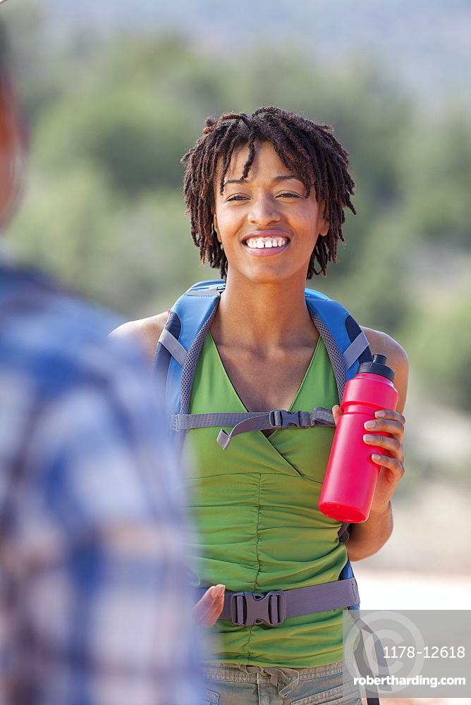 Portrait of smiling female hiker