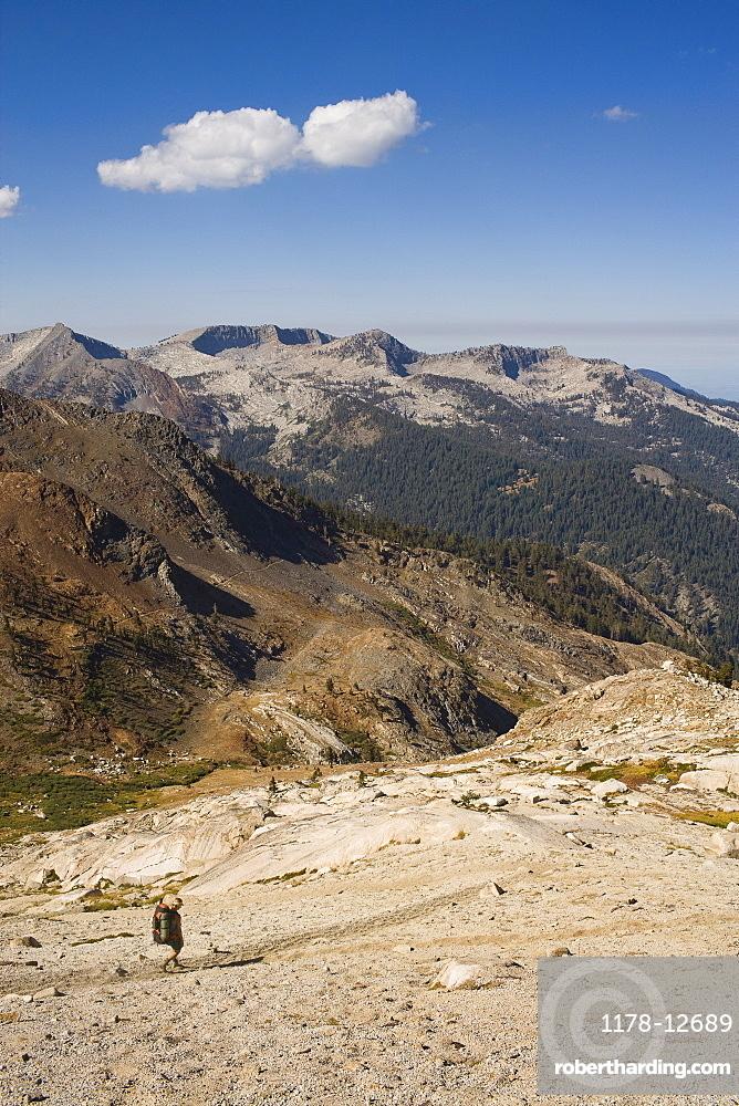 USA, California, Sequoia National Park, Five Lakes trail, Hiker walking