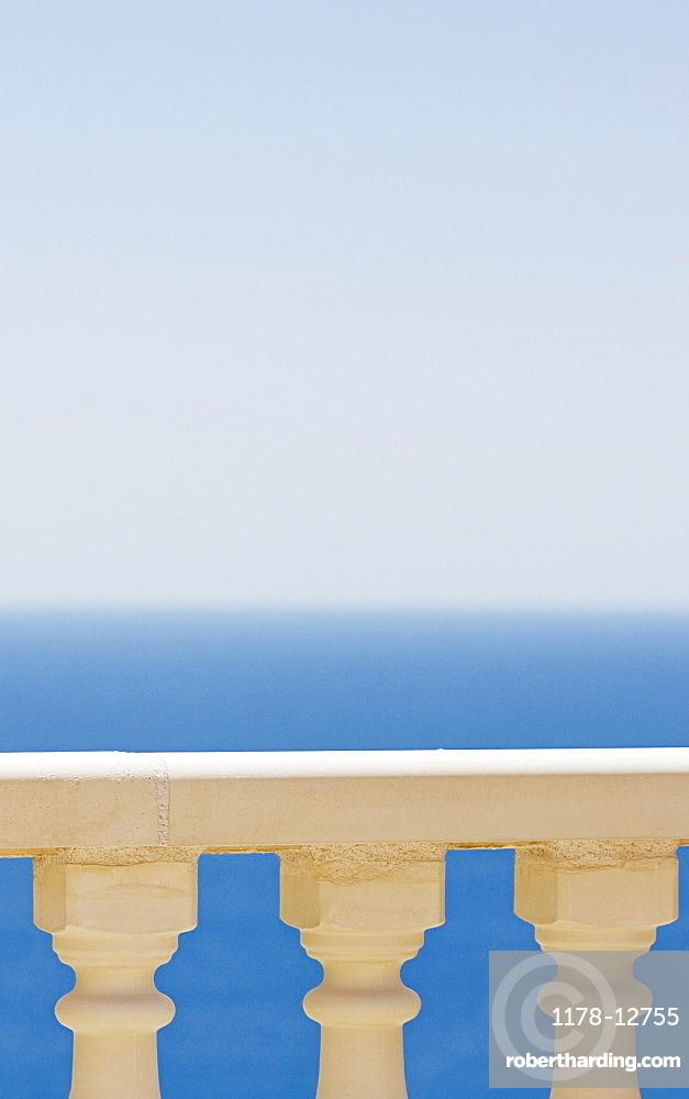 Spain, Costa Blanca, View of sea over balustrade