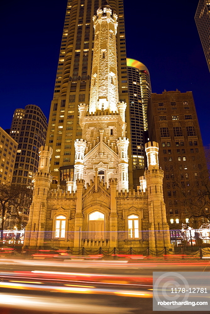 USA, Illinois, Chicago Water Tower illuminated at night