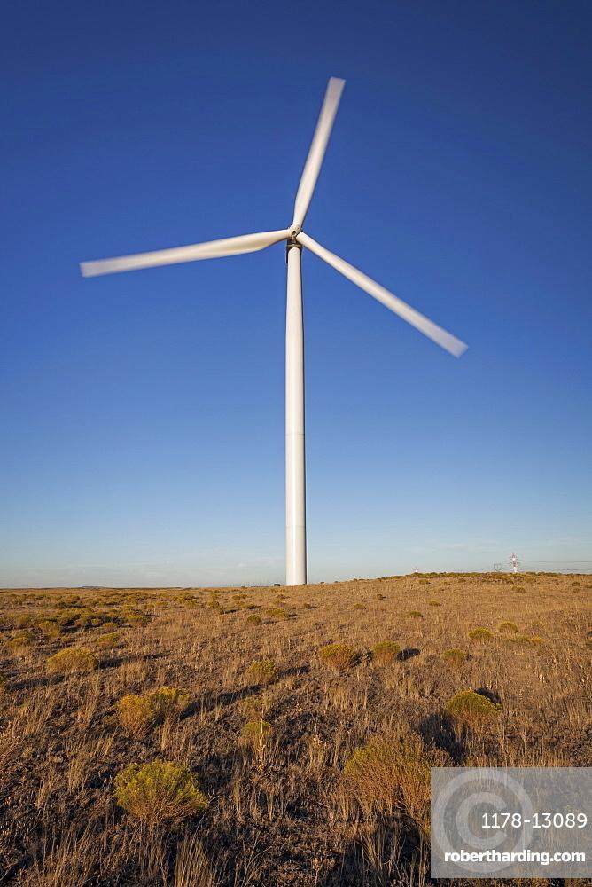 Wind turbine in late afternoon, Oregon