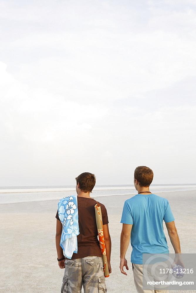 Young men walking on beach