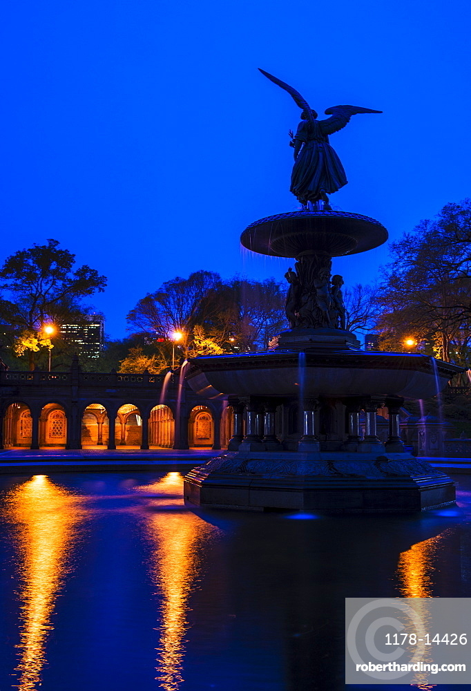 Bethesda fountain in Central Park, USA, New York State, New York City