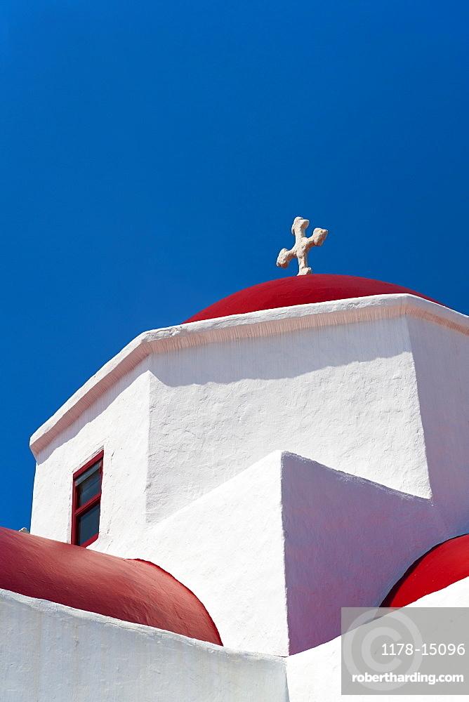Greece, Cyclades Islands, Mykonos, Church roof with cross