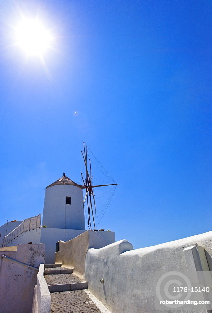 Greece, Cyclades Islands, Santorini, Oia, Old windmill