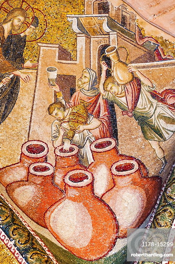 Turkey, Istanbul, Kariye Museum, Turning water into wine, fresco
