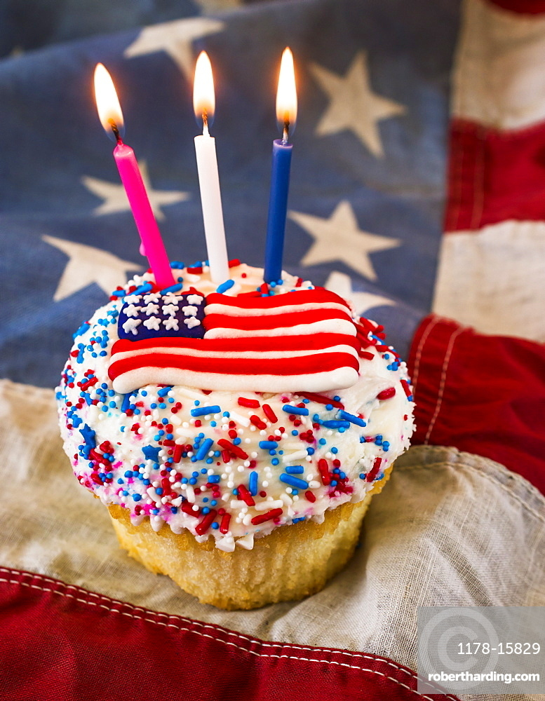 Birthday cake with American flag