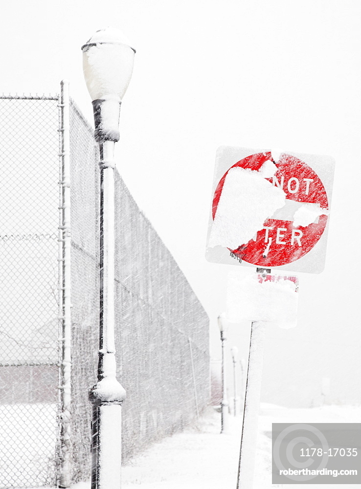 USA, New York State, Rockaway Beach, Do Not Enter Sign covered with snow