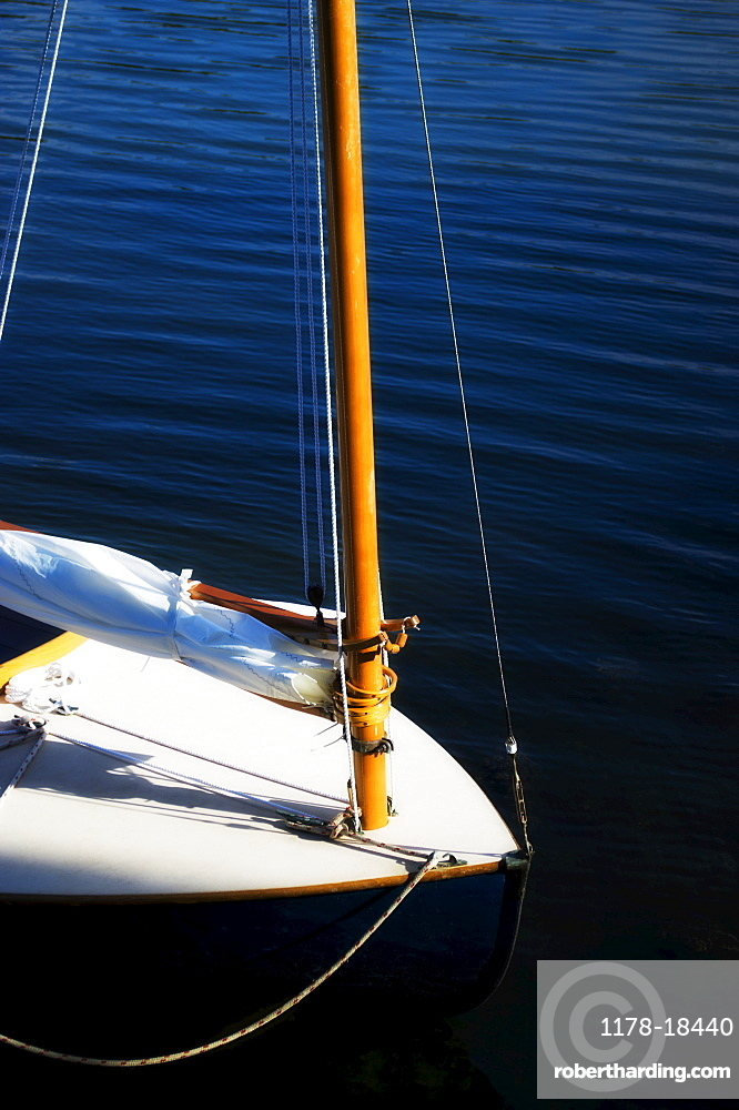 Yacht with furled sail, USA, New Hampshire, Portsmouth