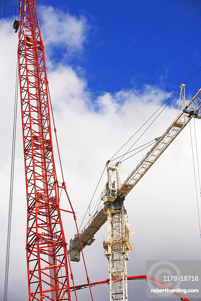 Low angle view of cranes