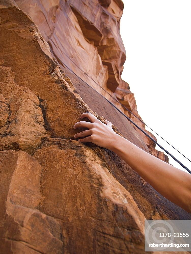 Close up of woman's arm rock climbing