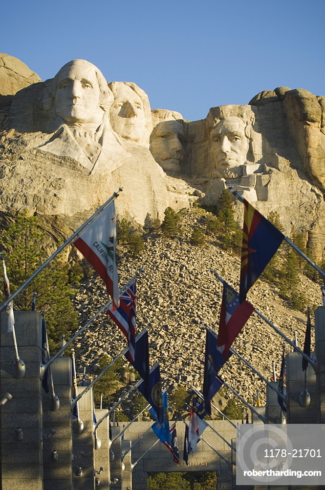 Rows of flags at Mount Rushmore
