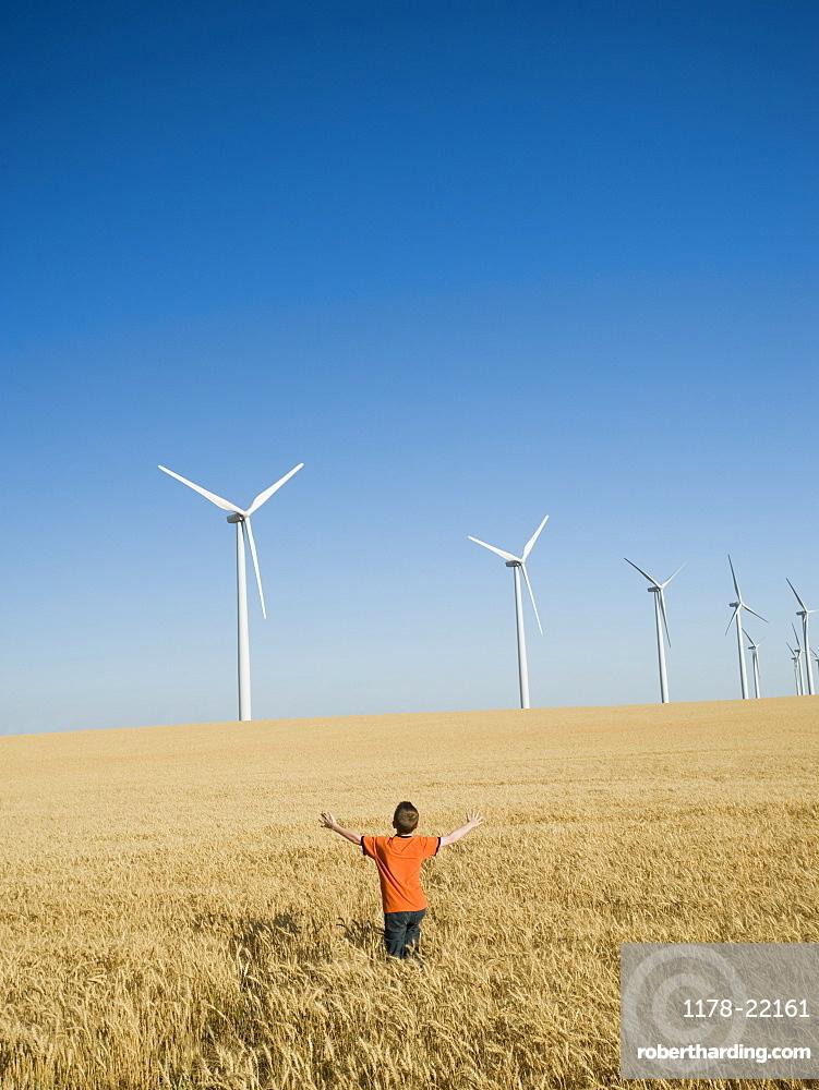 Boy standing in field on wind farm