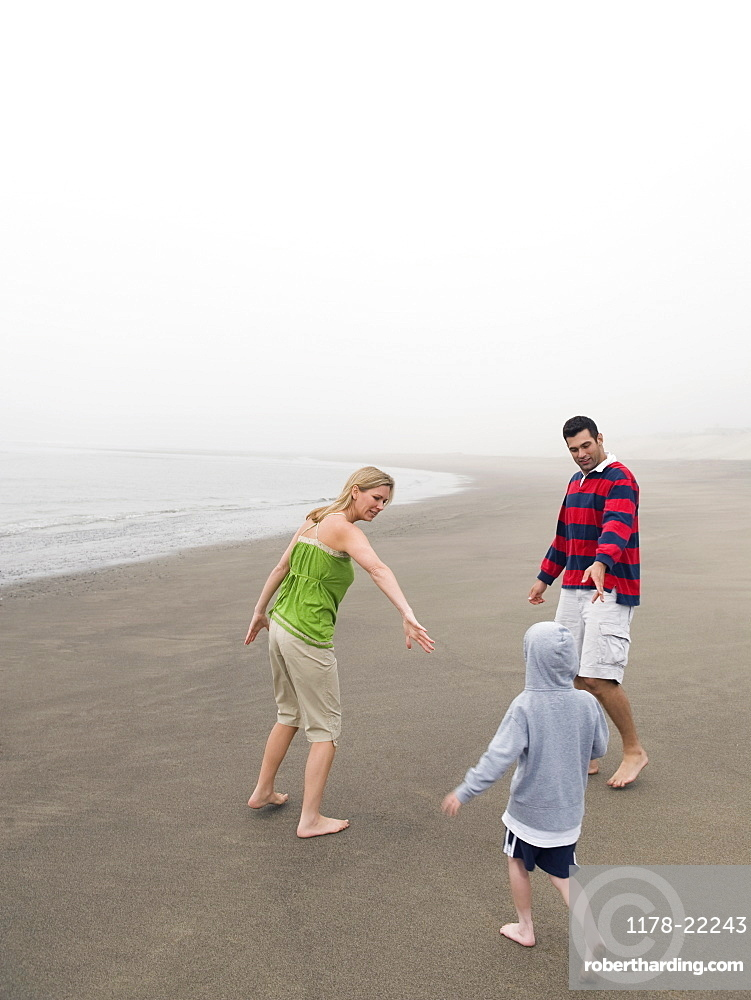 Parents and son on beach