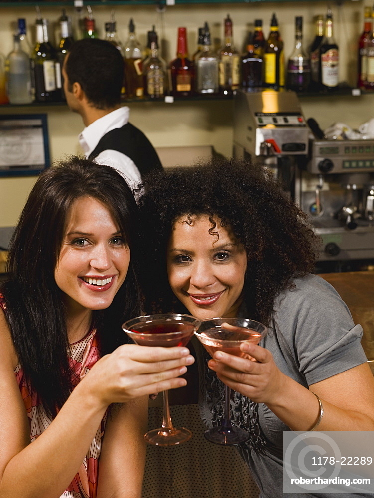 Friends drinking cocktails in bar