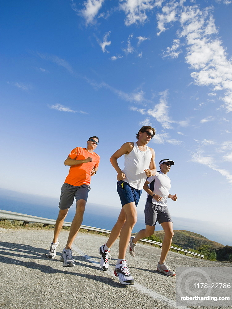 Runners on a road in Malibu