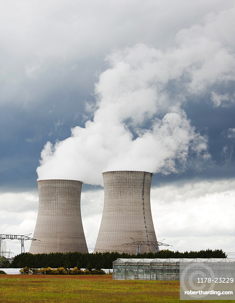 France, Rocroi, Cooling towers of nuclear power plant, France, Rocroi