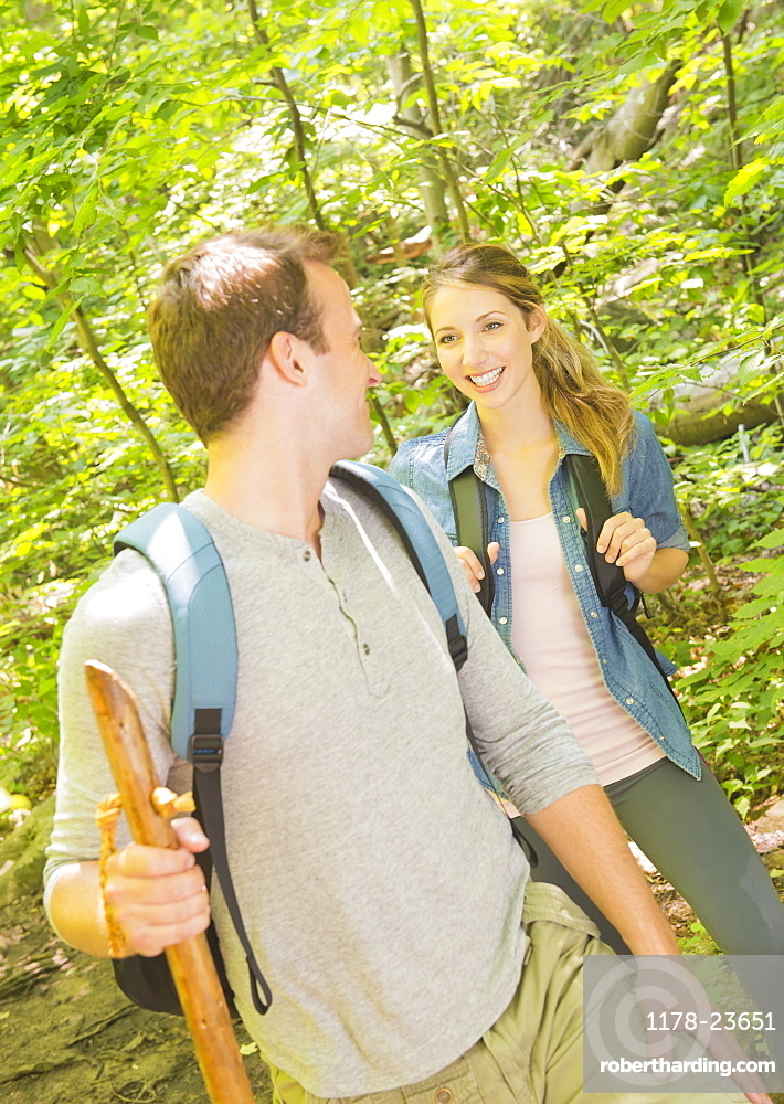 Couple hiking in forest, USA, New Jersey, Mendham