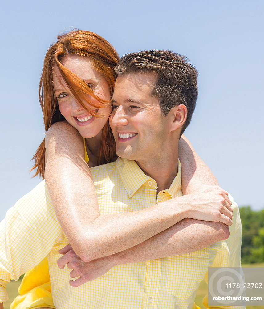 Portrait of couple smiling, USA, New Jersey, Mendham