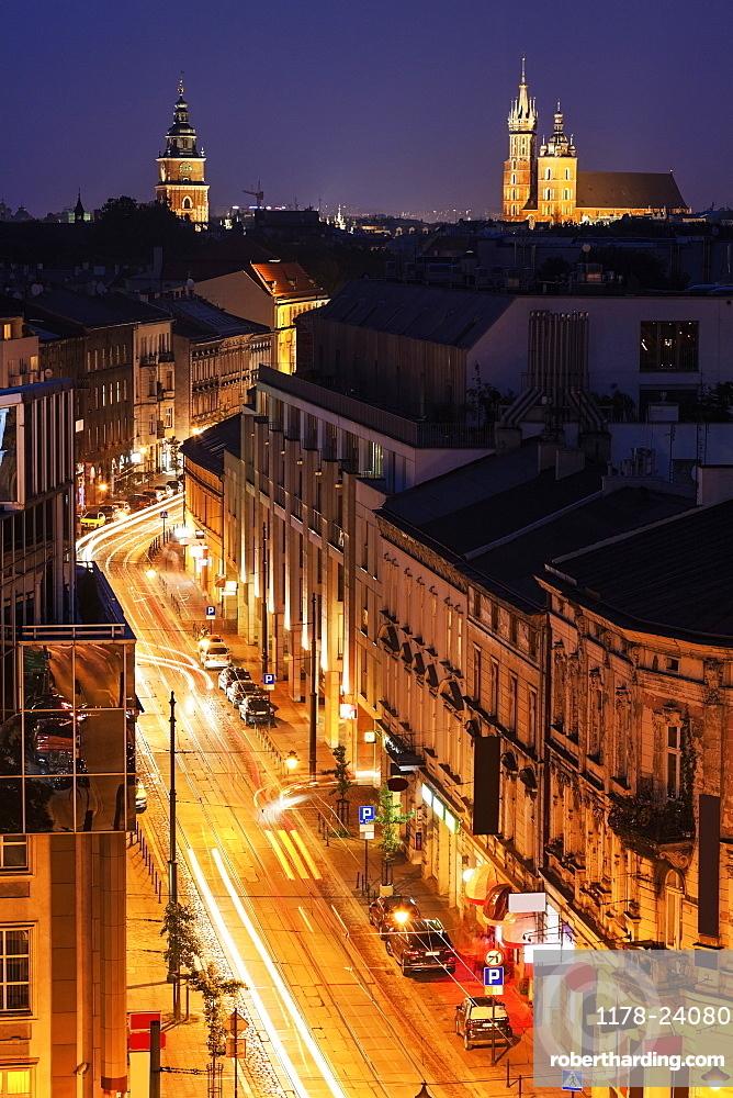 Zwierzyniecka Street and Town Hall with St Mary's Church in background, Krakow, Poland