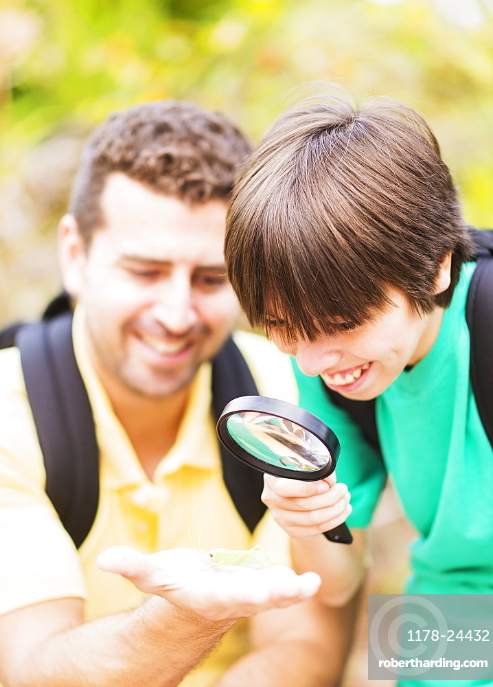 Father and son (12-13) watching butterfly with magnifying glass, Jupiter, Florida