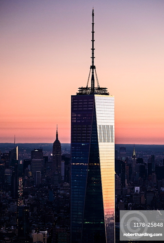 USA, New York State, New York City, One World Trade Center building at sunrise