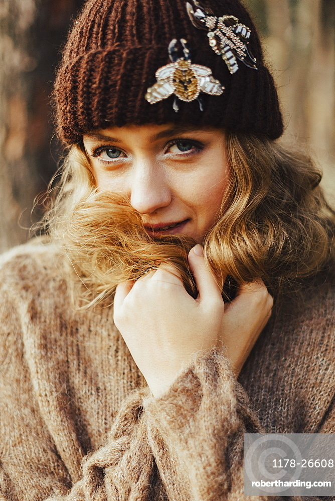 Young woman in wool