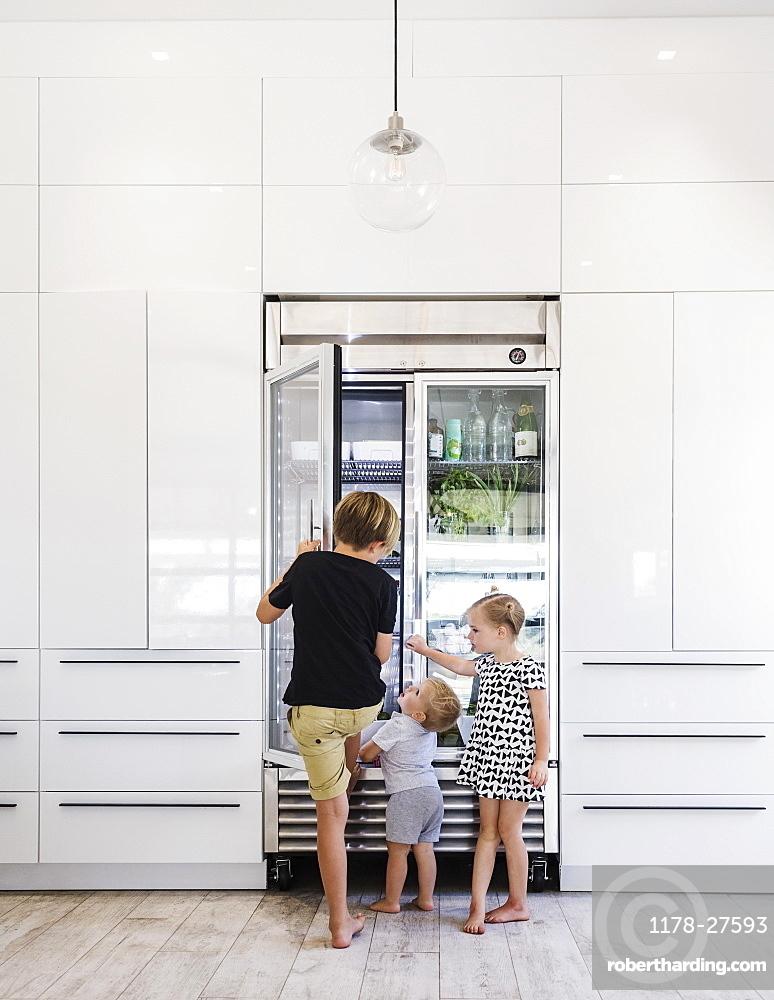 Children opening refrigerator