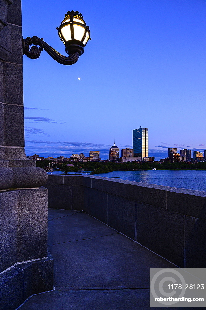 Illuminated light on building at night in Boston, Massachusetts, United States of America