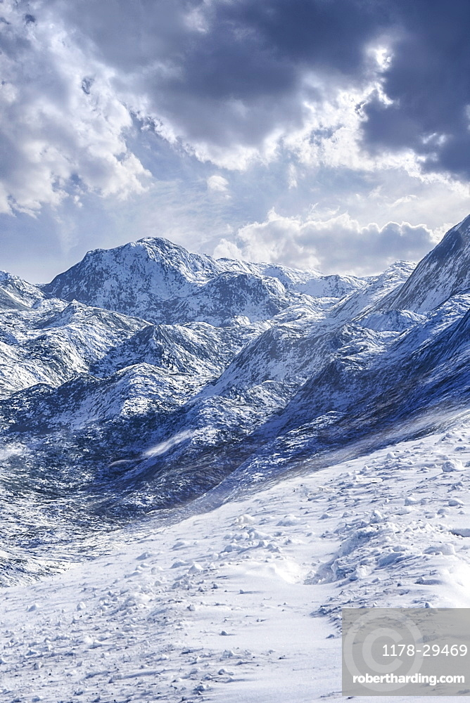 USA, Mountain peaks in snow
