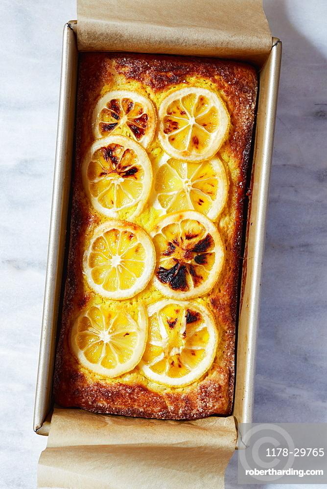 Lemon cake in baking pan
