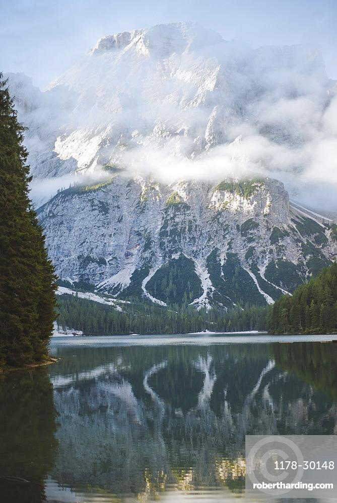 Italy, Landscape with Pragser Wildsee in Dolomites