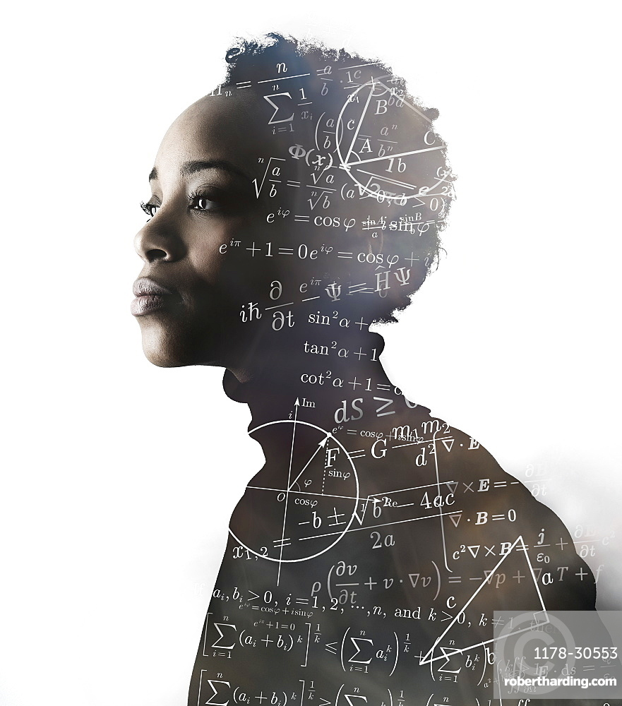 Silhouette of woman covered with mathematical formulas