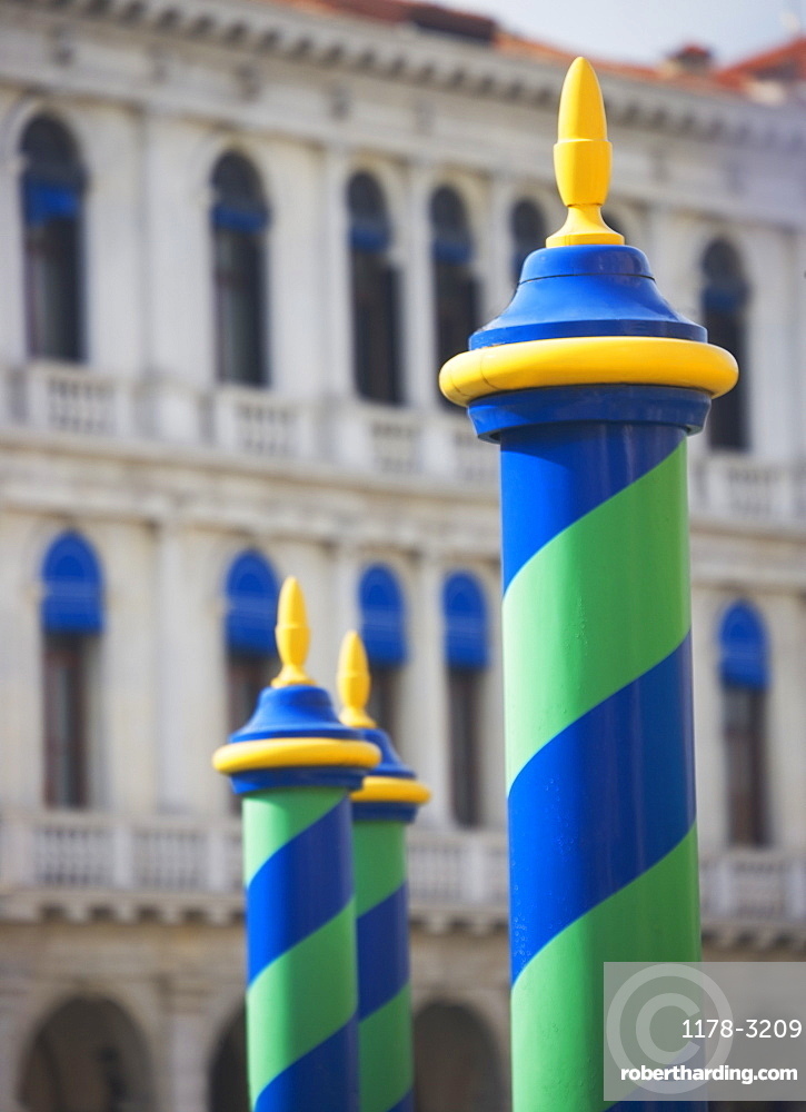 Mooring poles along the Grand Canal - Venice Italy