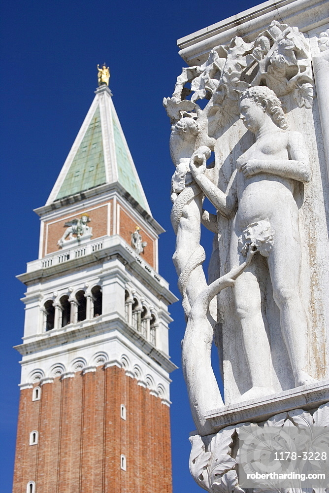 Eve in Garden of Eden Doges' Palace with Campanile at Piazza San Marco Venice Italy