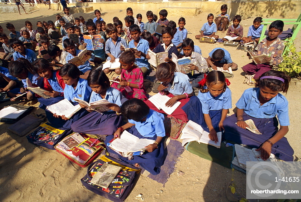 Village school, Deogarh, Rajasthan state, India, Asia