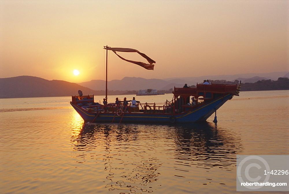 The royal barge at the Lake Palace Hotel, Udaipur, Rajasthan, India
