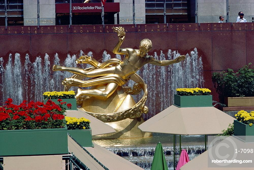 Prometheus statue, Rockefeller Center, New York City, New York, United States of America, North America