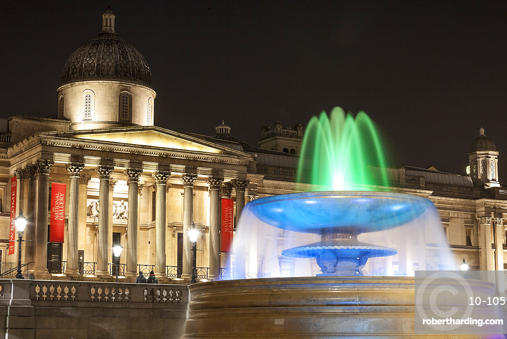 The National Gallery and fountain in Trafalgar Square at night, London, England, United Kingdom, Europe