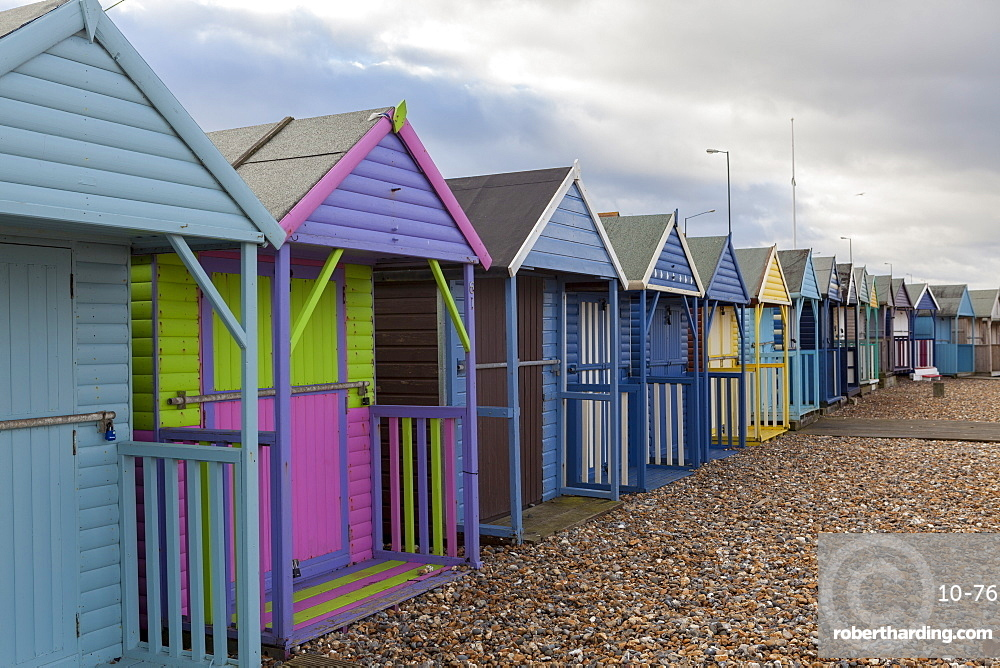 Beach huts at Herne Bay, Kent, England, United Kingdom, Europe
